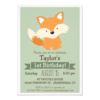 Baby Fox, Woodland Animal Kid's Birthday Party 5x7 Paper Invitation Card
