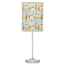 Baby Fox Woodland Pattern Lamp - Girl
