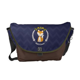 Baby Fox Wreath Personalized Messenger Bag