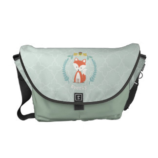 Baby Fox Wreath Personalized Messenger Bag - Girl