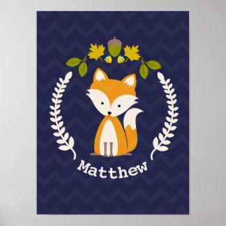 Baby Fox Wreath Personalized Nursery Artwork - Boy Poster
