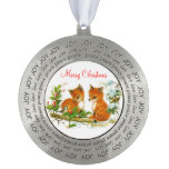 Baby Foxes and Bird in Snow Custom Christmas Scene Round Ornament