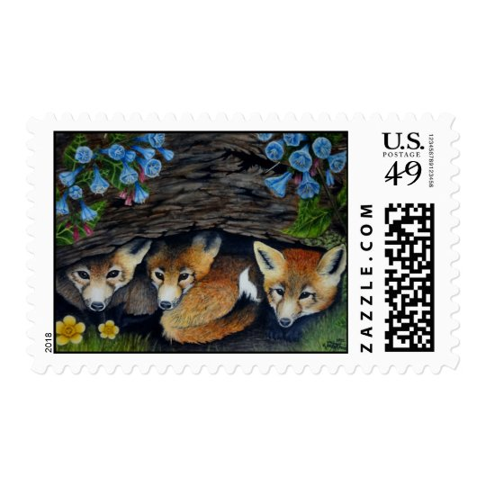 Baby foxes and flowers stamps