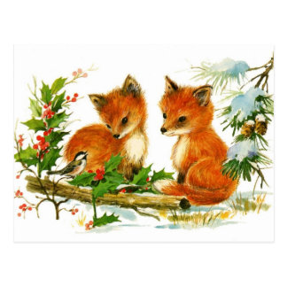 Baby foxes listening to bird post card