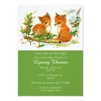 """Baby Foxes Twins Baby Shower Invitation 5"""" X 7"""" Invitation Card"""