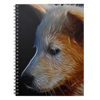 Baby fractal wolf cub spiral notebook