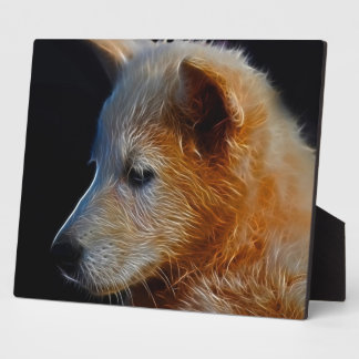 Baby fractal wolf cub plaque