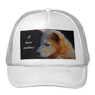 Baby fractal wolf cub trucker hat