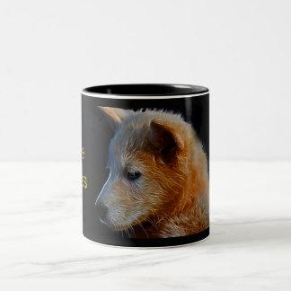 Baby fractal wolf cub Two-Tone coffee mug