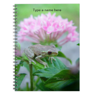 Baby Frog near pink flowers Notebook
