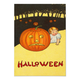 Baby Frowning Jack O Lantern Pumpkin Patch Card