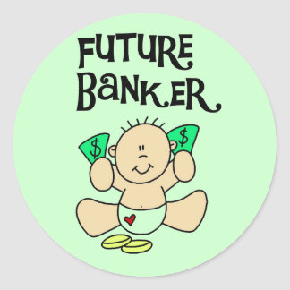 Baby Future Banker T-shirts and Gifts Classic Round Sticker
