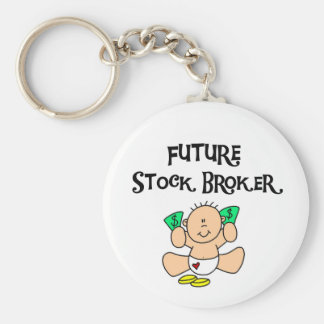 Baby Future Stock Broker Tshirts and Gifts Basic Round Button Keychain