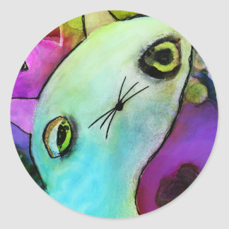 Baby Gato™ Cute Sad Glitter Eye Kitten Classic Round Sticker