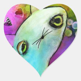 Baby Gato™ Cute Sad Glitter Eye Kitten Heart Sticker