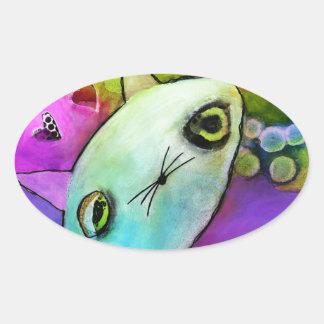 Baby Gato™ Cute Sad Glitter Eye Kitten Oval Sticker