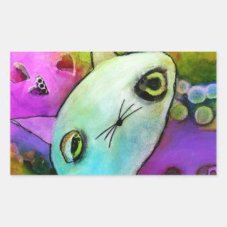 Baby Gato™ Cute Sad Glitter Eye Kitten Rectangular Sticker