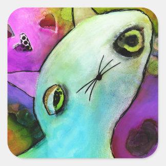Baby Gato™ Cute Sad Glitter Eye Kitten Square Sticker