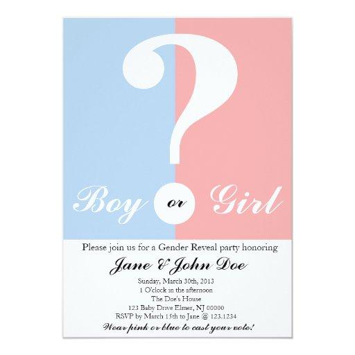 Baby Gender Party Invitation