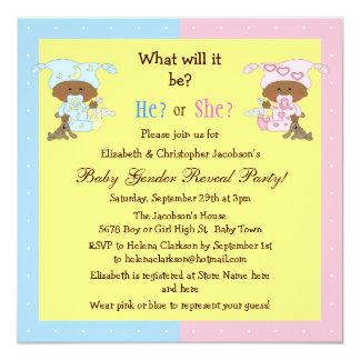 Baby Gender Reveal African American Babies Card