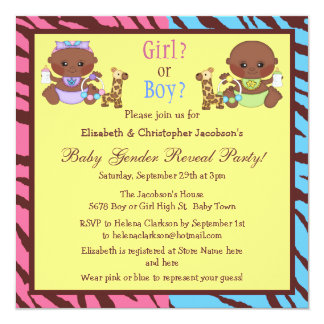 Baby Gender Reveal African American Babies Invites