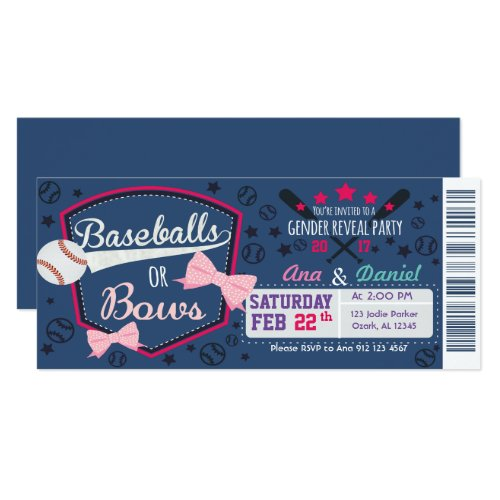 Baby gender reveal - Baseballs or Bows Invitation