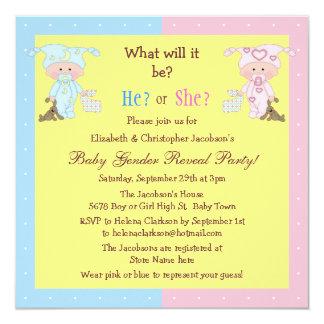 Baby Gender Reveal Cute Babies & Bunnies Invitations