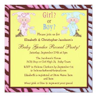 Baby Gender Reveal Cute Cartoon Babies & Bunnies Card