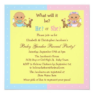 Baby Gender Reveal Cute Cartoon Babies Personalized Invites