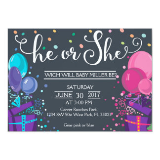 Baby gender reveal - He or She Gender Reveal Card