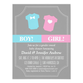 Baby Gender Reveal Party Blue and Pink 4.25x5.5 Paper Invitation Card