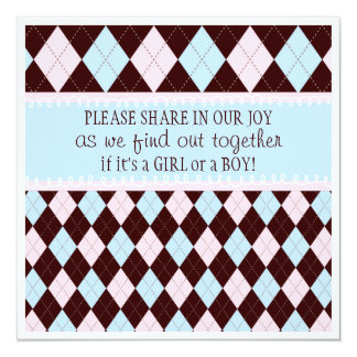 Baby Gender Reveal Party in Pink & Blue Argyle Card