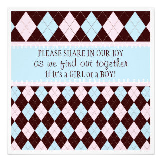 Baby Gender Reveal Party in Pink Blue Argyle Custom Invite