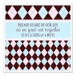Baby Gender Reveal Party in Pink & Blue Argyle 5.25x5.25 Square Paper Invitation Card