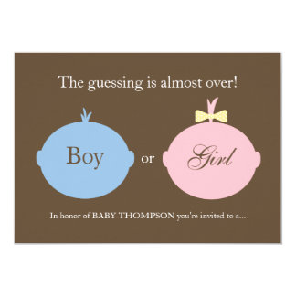 "Baby Gender Reveal Party Invitation 5"" X 7"" Invitation Card"