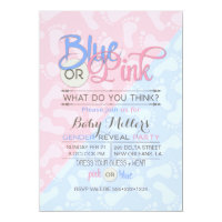 Baby Gender Reveal Party Pink Blue Footprint 5x7 Paper Invitation Card