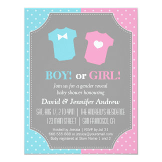 Baby Gender Reveal Party Polka Dots Card