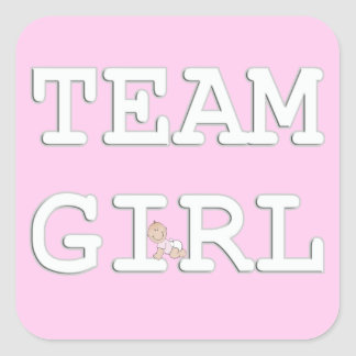 Baby Gender Reveal Party Sticker, Team Girl Square Sticker