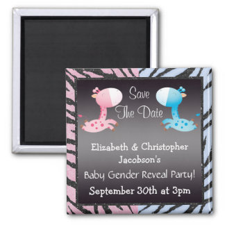 Baby Gender Reveal Save The Date Giraffes Magnet