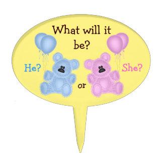 Baby Gender Reveal Teddy Bears & Balloons Cake Topper