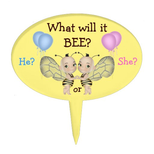 Baby Gender Reveal What Will it BEE? Honey Bees Cake Picks