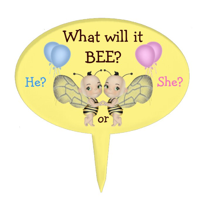 Baby Gender Reveal What Will it BEE? Honey Bees Cake Topper