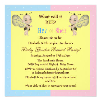 Baby Gender Reveal What Will it BEE? Honey Bees Custom Announcements