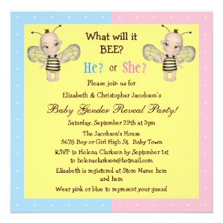 Baby Gender Reveal What Will it BEE? Honey Bees Personalized Announcement