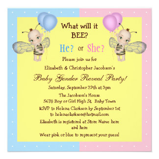 Baby Gender Reveal What Will it BEE? Honey Bees Invitations
