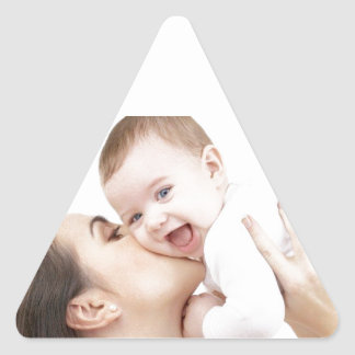 Baby Getting a Kiss! Triangle Sticker