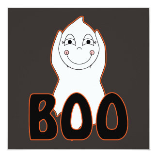 Baby Ghost Playing With Boo Saying 5.25x5.25 Square Paper Invitation Card