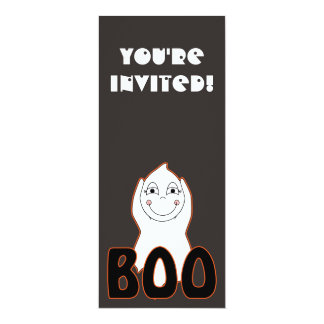Baby Ghost Playing With Boo Saying 4x9.25 Paper Invitation Card
