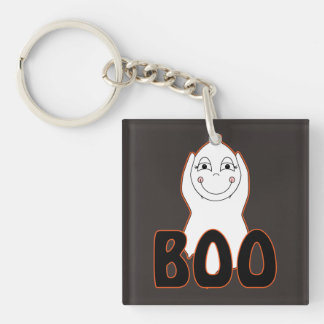 Baby Ghost Playing With Boo Saying Square Acrylic Keychain