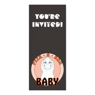Baby Ghost Playing With Peek A Boo Saying 4x9.25 Paper Invitation Card